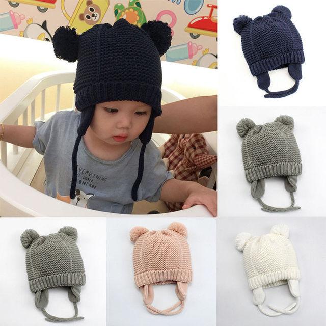 модная новая популярная шапка с помпонами для новорожденных