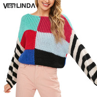 VESTLINDA Knitted Sweaters Boat Neck Color Block Chunky Sweater Women Clothing Winter Long Sleeve Fashion Jumper Pullovers Tops