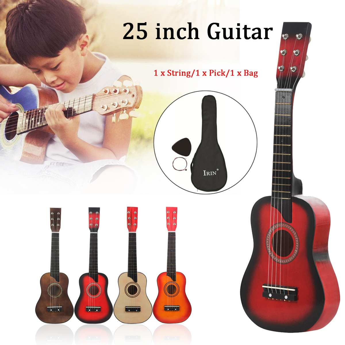 25  Wooden Acoustic Guitar 6 String Musical Instrument Kid Toy with Carrying Bag Children Educational Musical New Year Gift25  Wooden Acoustic Guitar 6 String Musical Instrument Kid Toy with Carrying Bag Children Educational Musical New Year Gift