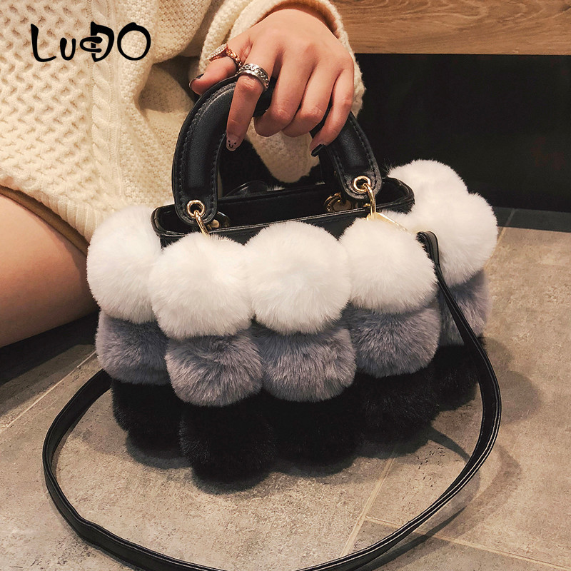 LUCDO Winter Faux Fur Luxury New Ladies Cute Tote Bag Women Designer Handbag Hair Ball Shoulder Messenger Bags Bolsos Mujer Sac