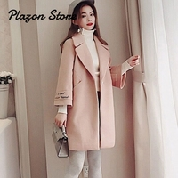Wool Blend Coat Women Long Sleeve Turn down Collar Outwear Jacket Casual Autumn Winter Elegant Overcoat Pink Camel Coat
