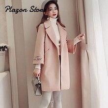 Wool Blend Coat Women Long Sleeve Turn-down Collar Outwear Jacket Casual Autumn Winter Elegant Overcoat Pink Camel