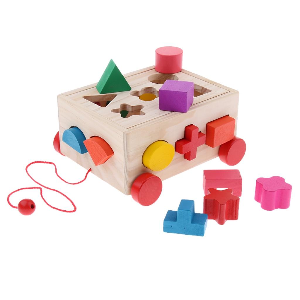 Kids Wooden Shape Sorting Car Educational Toys Toddler Baby Jigsaw Stacking Game Toddler Drag Car To Walk Gifts