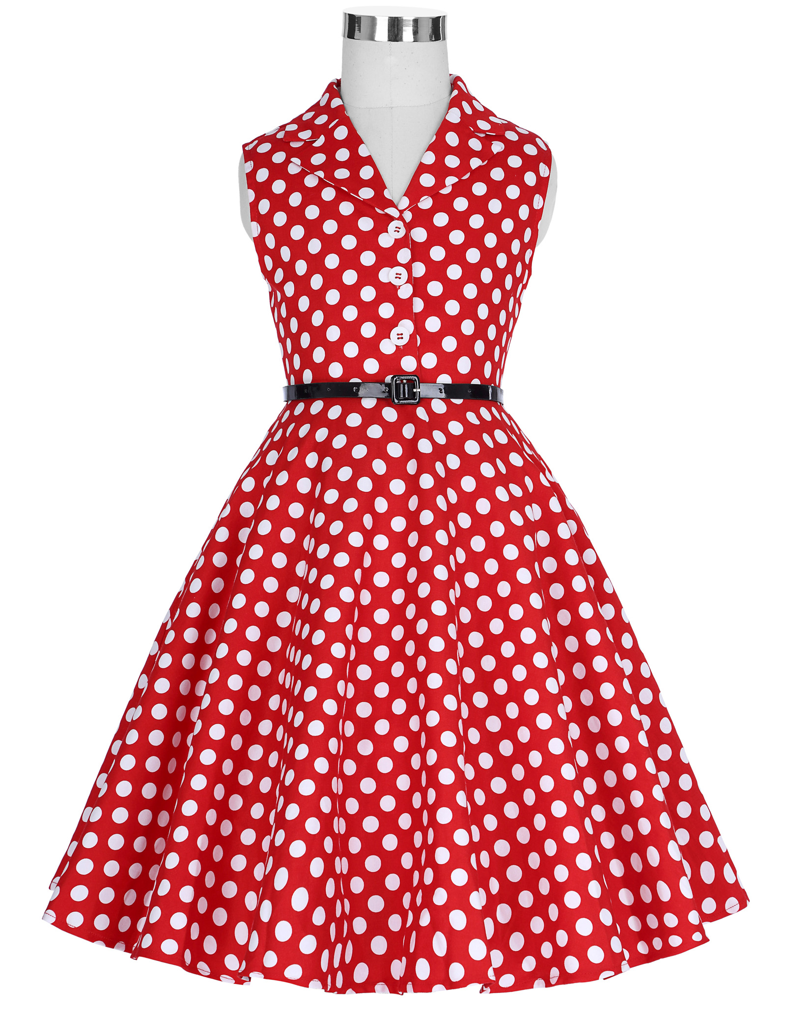 New Children Kids Girls Retro Vintage Sleeveless Lapel Collar Polka Dots DressNew Children Kids Girls Retro Vintage Sleeveless Lapel Collar Polka Dots Dress