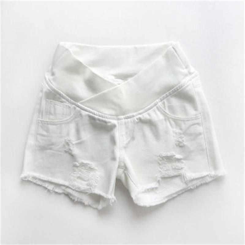 Woman Denim Shorts Maternity Clothes Sexy Summer Trousers Pregnant Woman Hole Elastic Waist Short Jeans Premama Leggings Panties