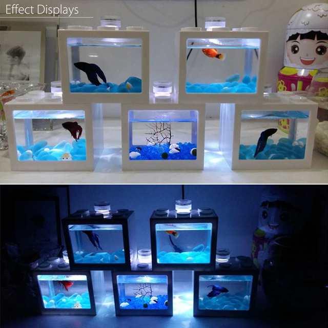 Mini Aquarium Fish Tank LED Light Lamp Betta Box Feed Desk Home Decor Baby Fish Breed Fish Isolation Box 2