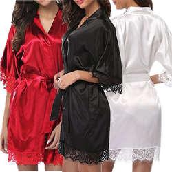 Сексуальные женские летние v-образный вырез с коротким рукавом Халаты женские Одноцветный халат кружевное нижнее белье платье пижамы