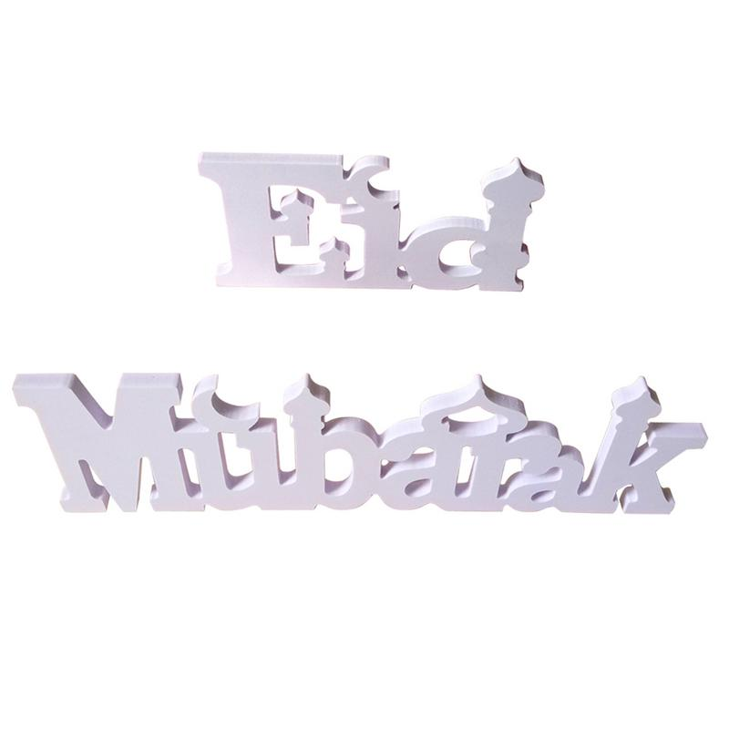 White Eid Mubarak Table Center Wooden Letters Decorated With Small Ornaments Exquisite And Beautiful Gifts Holiday DecorationWhite Eid Mubarak Table Center Wooden Letters Decorated With Small Ornaments Exquisite And Beautiful Gifts Holiday Decoration