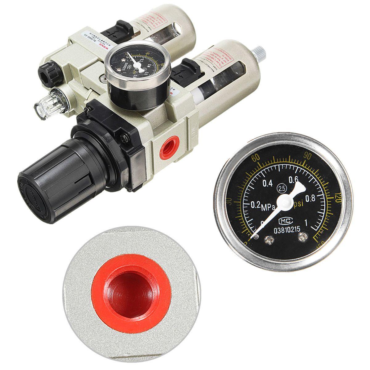 3/8 compresseur d'air lubrificateur d'huile humidité piège à eau filtre régulateur jauge en alliage d'aluminium pièces pneumatiques matériel mécanique - 5