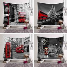 300x150cm British Style Tapestry European Red Bus Printed Wall Hanging 4 Sizes 3D Art Carpet City Landscape Home Decor