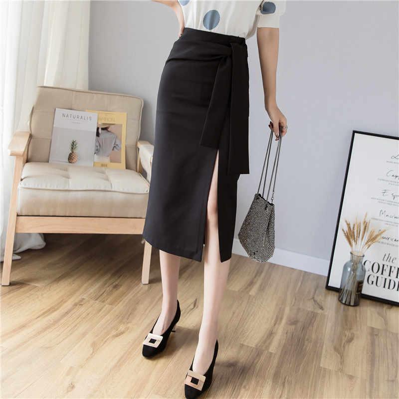 Элегантная черная юбка-карандаш с высокой талией и узлом, Женская корейская модная юбка с высокой талией, Офисная Женская длинная юбка миди