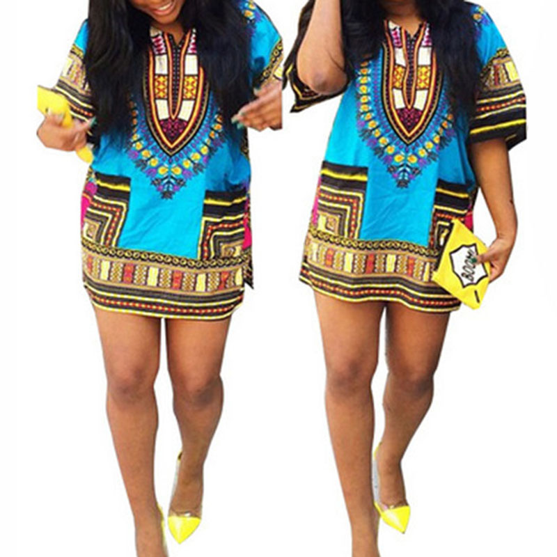 Unisex Tribal African Shirt, Dress Men Women, Dashiki Print Hippie Style Dress