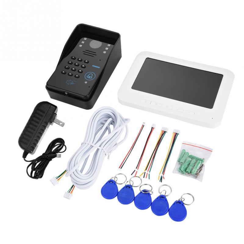 1 Set Wires Video Intercom Door Bell LED Display Screen 7 Wired Door Bell Home Security