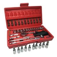 Hot 46pc 1/4 Car Repair Tool Set Mixing Tools Screwdriver Sets Wrench Kit