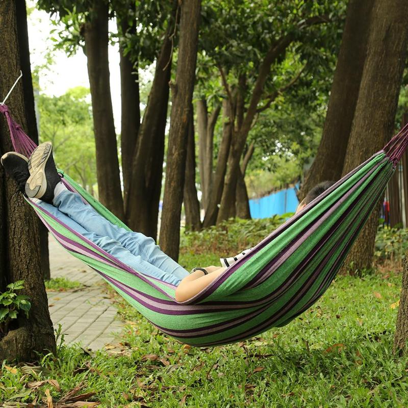 Portable Hammock Outdoor Garden Hammock Home Travel Camping Swing Canvas Stripe Hanging Bed Hammock 4 Colors