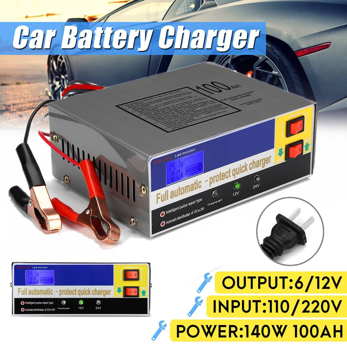 110V 12V/24V 100AH Electric Car Battery Charger Intelligent Pulse Repair Type PWM Constant Voltage Charging Various Protections