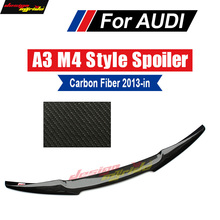 Fits For Audi A3 S3 Sedan M4 style Highkick True Carbon fiber Rear trunk spoiler Tail A3 S3 Rear Trunk Spoiler wing Lip 2013-18 a3 rear trunk spoiler wing lip small aev style carbon fiber for a3 a3q auto air rear trunk spoiler tail wing car styling 2013 in