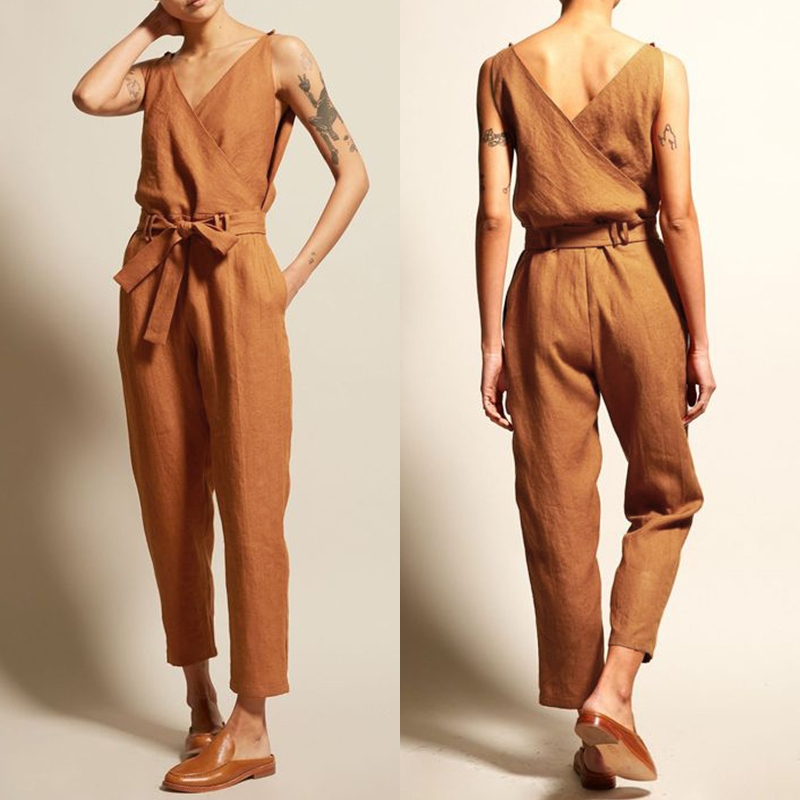 Plus Size Stylish Women's   Jumpsuits   2019 ZANZEA Pantalon V Neck Belt Playsuits Female Casual Rompers Femme Work Pants Overalls