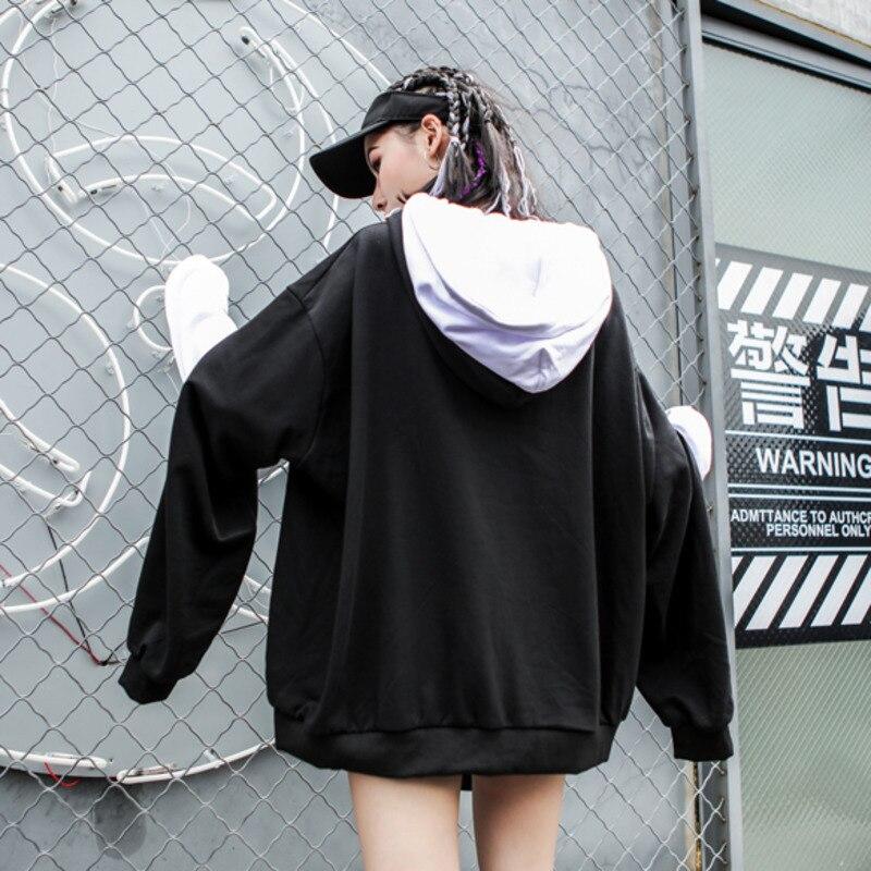 LANMREM 2018, новая мода, большие размеры, черный и белый цвета, с капюшоном, на молнии, с длинным рукавом, толстовка, женские топы, свободные толстовки, Vestido YE89201 - 5