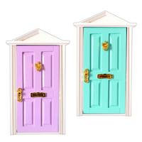 2pcs Dolls house Doll 1/12 Scale Dollhouse Miniature Furniture Wooden Doors New Purple & Mint Green for Children DIY Toy