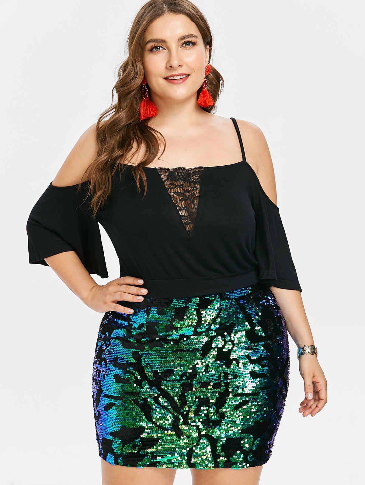Wipalo Plus Size Elegant Sequins Trim Mini Bodycon Party Dress Spaghetti  Strap Three Quarter Sleeve Sparkly c9a682b9fd5e