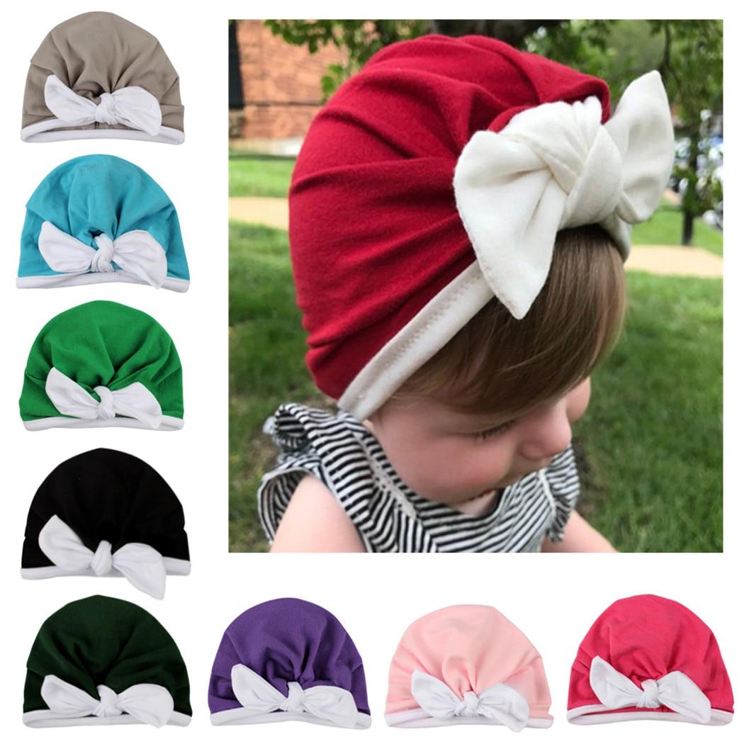 Children Muslim India Hat Bohemian Bowknot Turbans Cap 2019 New Bebe Girls Boys Soft Bows Turban Rabbit Ear Knot Cap Beanie Hat