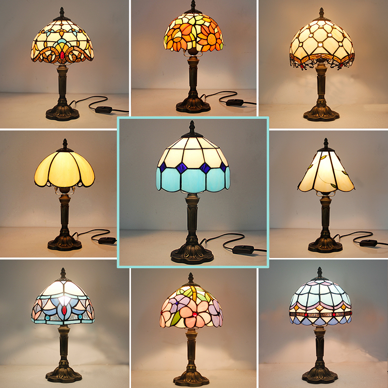 Vintage rétro vitrail lampe de Table turque 110V 220V Art créatif turc mosaïque lampes chambre lumière décoration avec Plug in
