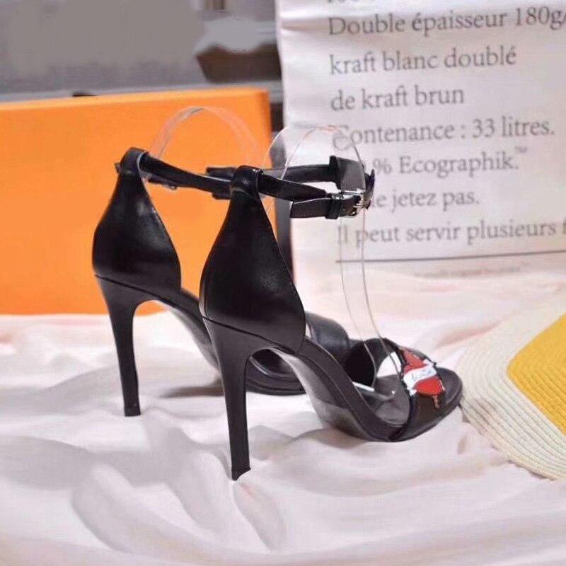 a742dca2 Boda Elegante Señora Tacón Mujer Verano Sandalias Altos Cabeza Redonda  Zapatos Color Fino Hechizo Nueva Black Tacones Sexy Marca 2019 Hebilla  Fiesta xrdeCBo