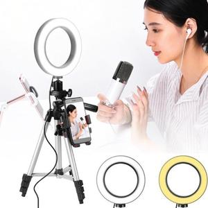 Image 5 - 7.9 inch Photo Studio Phone Stand with LED Beauty Ring Light Photography Dimmable Fill in Light Lamp+Tripod For Selfie Live Show
