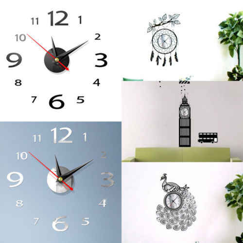 3D DIY Wall Clock Home Modern Decoration Crystal Mirror Stickers Home Decoration Living Room Quartz Needle