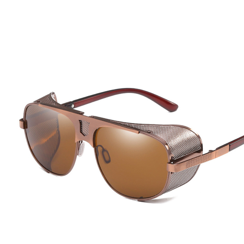 Side Shield Steampunk Sunglasses Men Luxury Brand 2019 Vintage Windproof Goggle Red Sun Glasses Male Oversized Men Sunglasses Multan