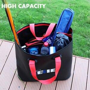 Image 3 - Seau pliable en EVA, 4 tailles, sacs portables de matériel de pêche en plein air avec réservoir deau pour la pêche