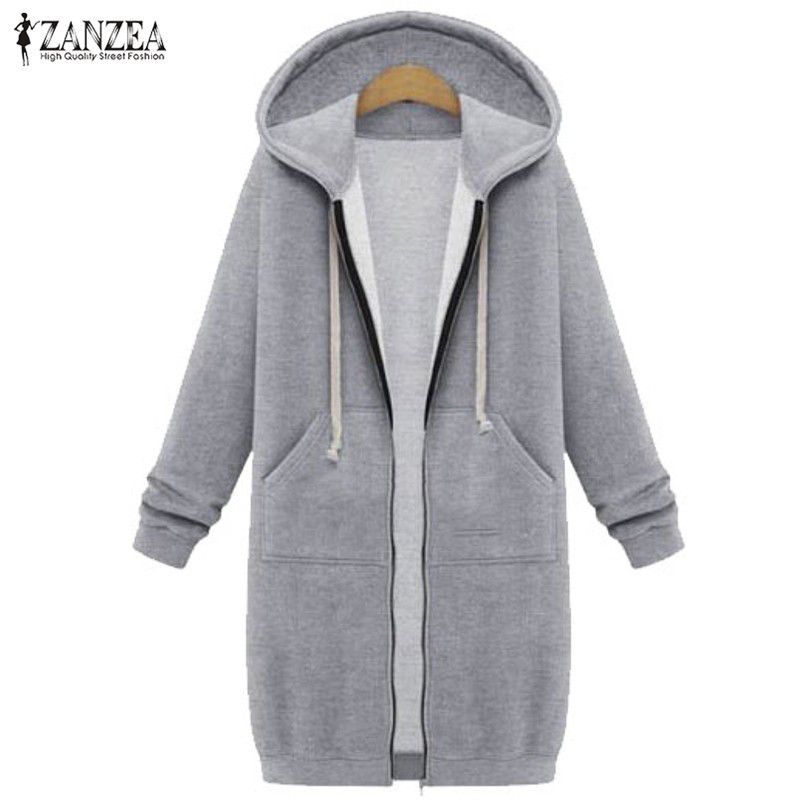 2019 Plus Size ZANZEA Winter Women Casual Hooded Zipper Long Sleeve Pockets Loose Warm Long Sweatshirt Coat Outerwear Jackets