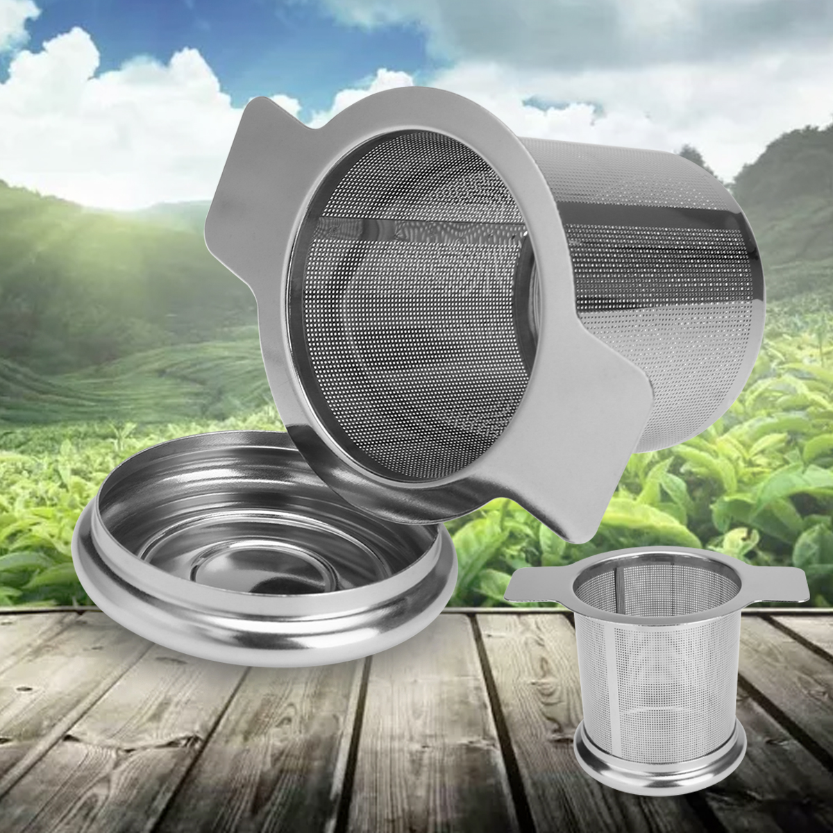 Stainless Steel Tea Mesh Infuser Metal Cup Strainer Loose Leaf Coffee Filter With Lid For Teaware Accessories