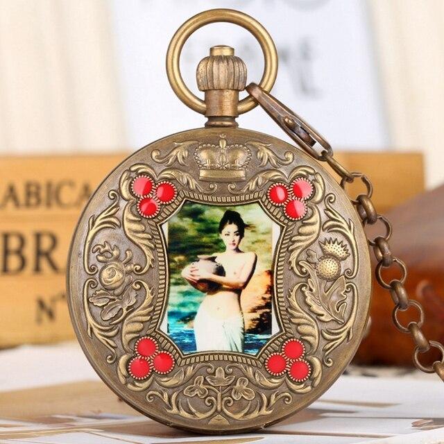 Beleza elegante Artes Imagem Retro Relógio de Bolso Mecânico Turbilhão Mão Sinuosa Relógio Top de Luxo da Cadeia de Cobre Puro Presente Da Lembrança
