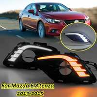 LED DRL Daytime Running Lights Daylight Fog light cover Car Flashing For Mazda 6 for Mazda6 For Atenza 2013 2014 2015