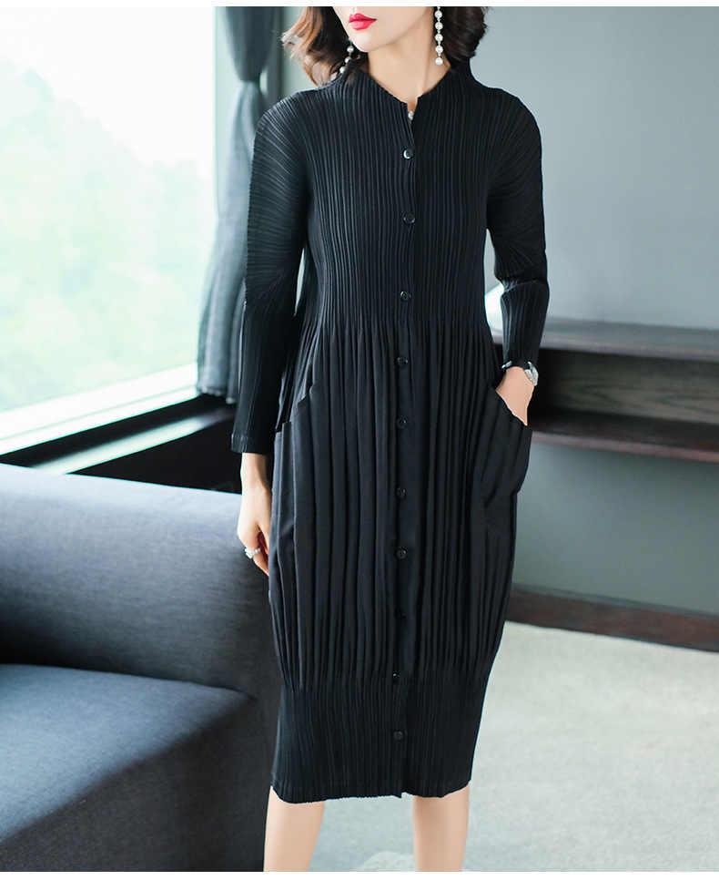 LANMREM 2019 высокое качество новая плиссированная одежда для женщин длинный рукав стоячий воротник двойные карманы свободное платье Vestido YF576