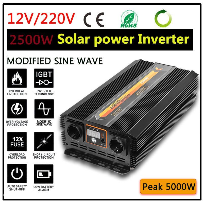 2500W Max 5000W Solar Power Inverter DC 12V 220To 240V Modified Sine Wave Converter Power Supplies Sine Wave Converter Adapter