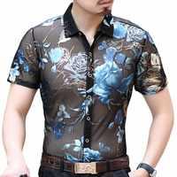 Hawaiian Camicia da Uomo Streetwear Camicia Trasparente Manica Corta Camicia Uomo di Modo Camisa Hombre Camicia Camisa Sociale 2019 di Estate