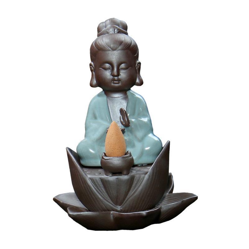 Small Buddha Backflow Incense Burner Smoke Waterfall Holder Ceramic Censer Decorative Crafts