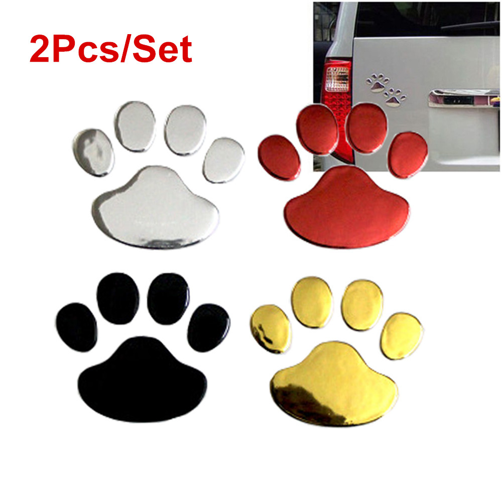 2Pcs/Set Car Sticker Cool Design Paw 3D Animal Dog Cat Bear Foot Prints Footprint Decal Car Stickers Silver Gold Red(China)