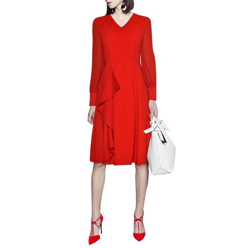 office dress for women red black v neck flouncing ruffle knee length long sleeves spring women