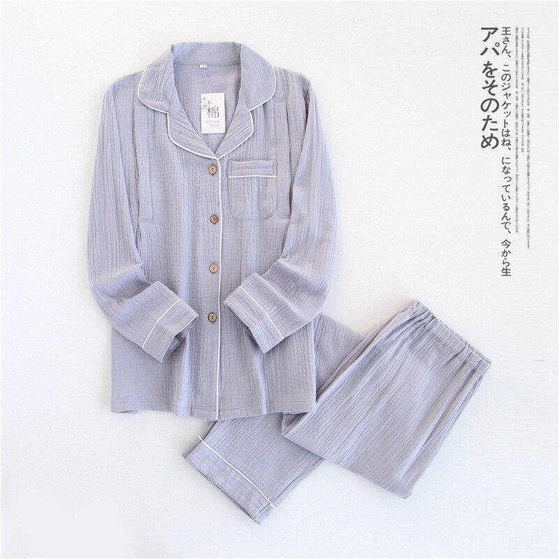 Image 4 - 100% Cotton Crepe Long sleeved Breast Feeding Pajamas Solid Pijama Mujer Summer Plus Size Pijamas Loungewear Sleepwear Home Set-in Pajama Sets from Underwear & Sleepwears