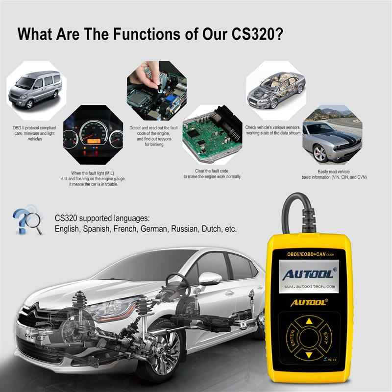 CS320 OBD2 Car Automotive Scanner Universal Auto OBDII Code Readers  Diagnostic Tool Launch X431elm327 Scan Tools