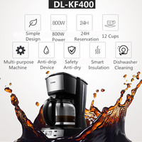 220V 800W 1.8L Cafe Coffee Maker Donlim DL KF400 Household Semi automatic Coffee Machine Maker Drip Type Grinding Kitchen