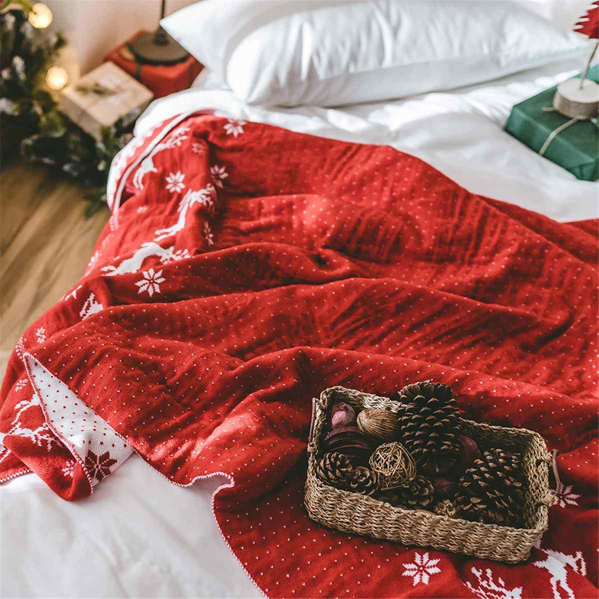 130x180 cm Super doux chaud tapis de couchage noël cerf tricoté couverture jeter tapis lit canapé jette salon tapis flanelle Plaid