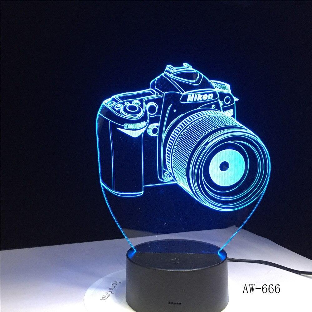 Nikon Camera 3D Led Night Light Led Acrylic Colorful Lights Hologram Kids Table Lamp Atmosphere Led Light Lamp Cute Light AW-666