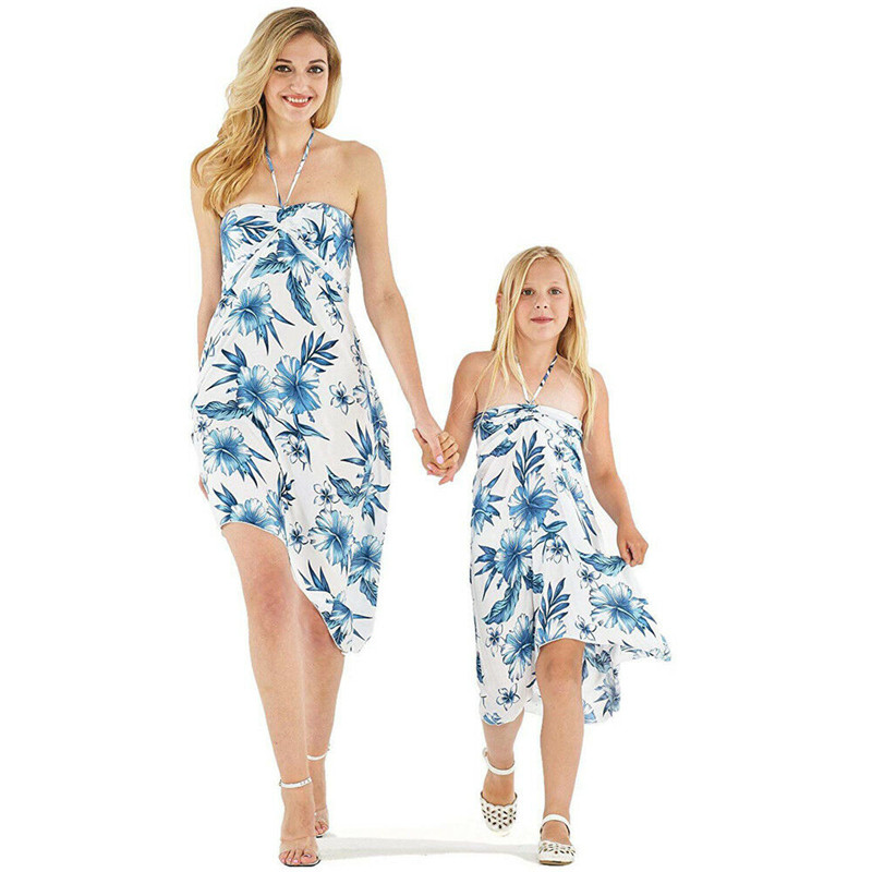 Fashion Casual Loose Print Women Kids Girls Floral Long Cover Up Dress Summer Beach Sundress Beachwear Clothes For Girls