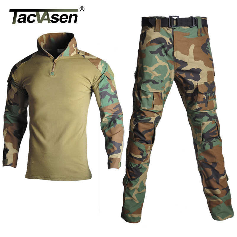 TACVASEN Man Tactical Camouflage Military Uniform Clothing Suit Men Army Clothes Sets Airsoft Combat Shirt Cargo
