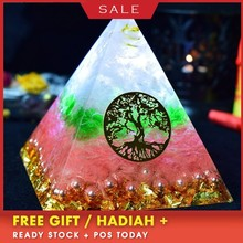 Orgonite Pyramid Natural Aura Crystal Bring Lucky Marriage Radiation Protection Resin Decorative Craft Jewelry Gift